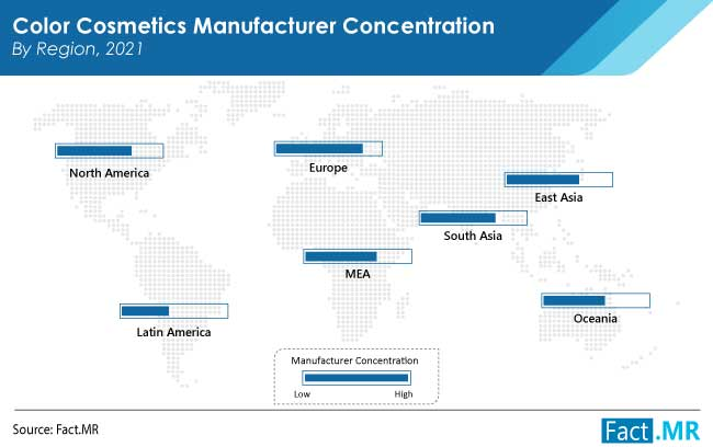 Color cosmetics market region by Fact.MR