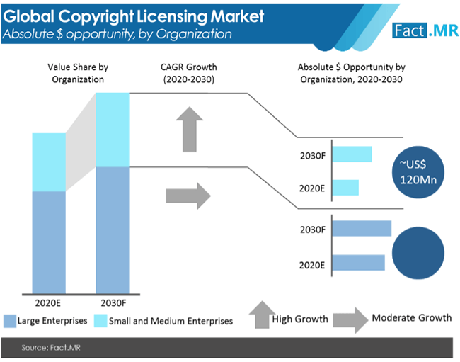 copyright licensing market absolute $ opportunity by organization