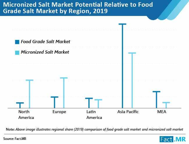micronized salt market potential relative to food grade salt market by region